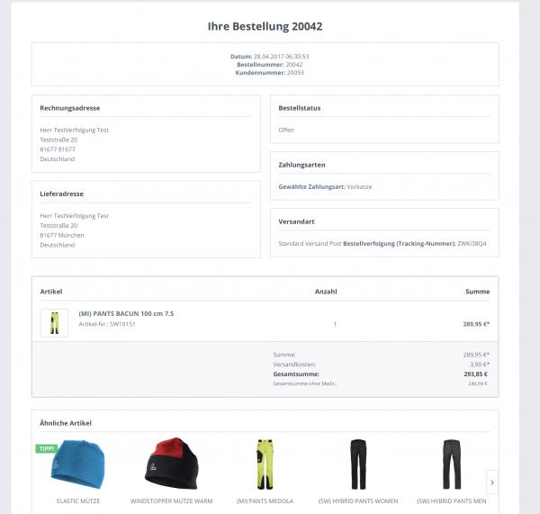 Bestellverfolgung für Kunden mit Cross-Selling Feature