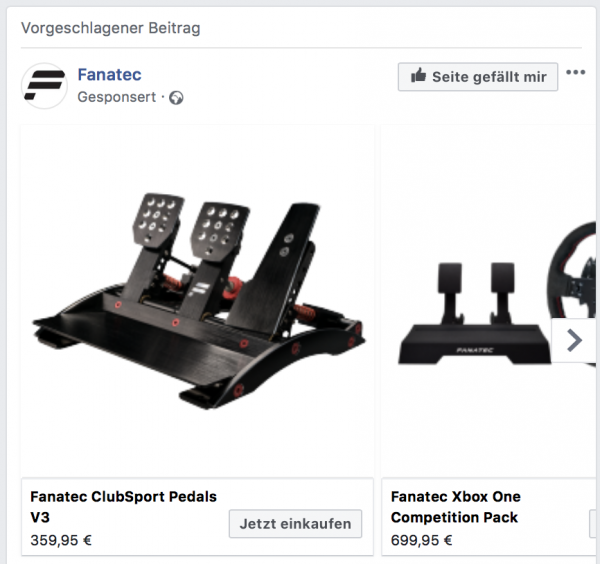 Facebook Dynamic Ads Produktfeed